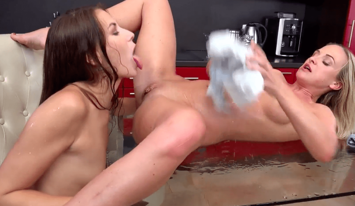 Pissing lesbians on a glass table